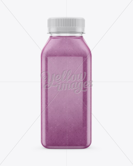 Clear Bottle with Blueberry Smoothie Mockup