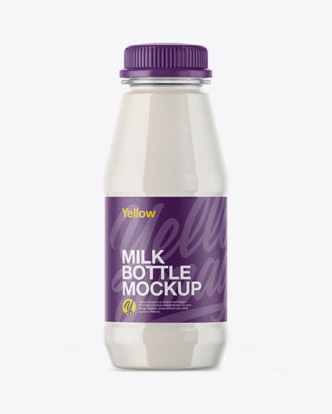 Download Free Plastic Bottle With Milk Mockup PSD Template
