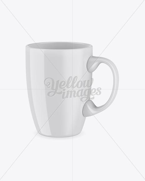 Glossy Mug Mockup - Half Side View (High Angle Shot)