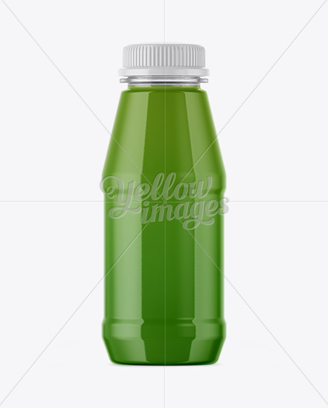 Plastic Bottle With Green Juice Mockup