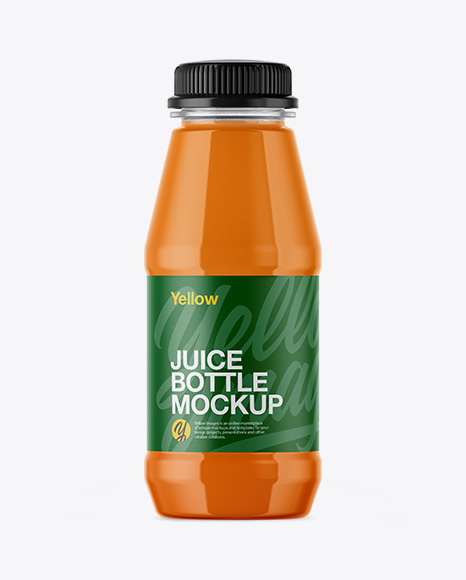 Plastic Bottle With Carrot Juice Mockup