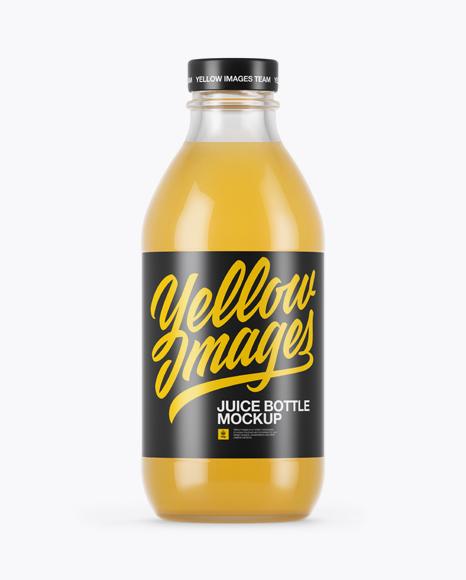 330ml clear glass orange juice bottle mockup in bottle mockups on