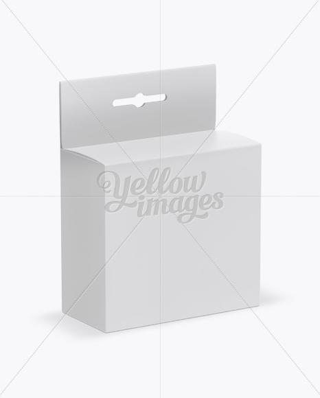 Matte Paper Box with Hang Tab Mockup - Half Side View (High Angle Shot)