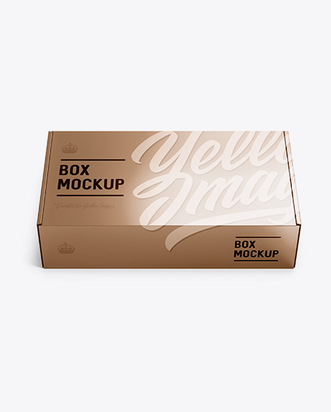 Download Free Metallic Carton Box Mockup - Front View (high-angle shot) PSD Template