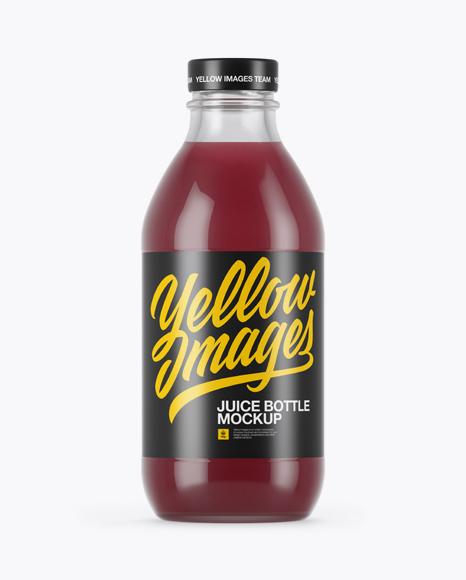 330ml Clear Glass Berry Juice Bottle Mockup