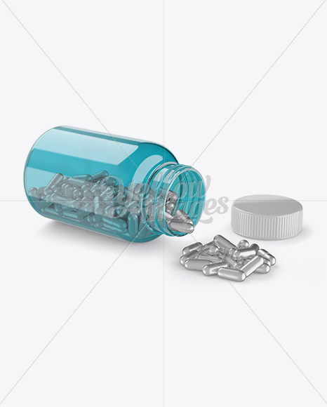 Opened Transparent Bottle W/ Metallic Pills Mockup