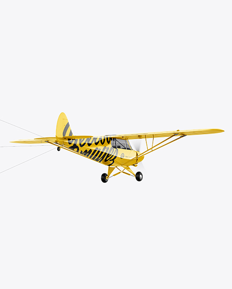 Airplane With Short Banner Mockup - Half Side View PSD Template - 3D