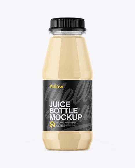 Plastic Bottle With Banana Juice Mockup