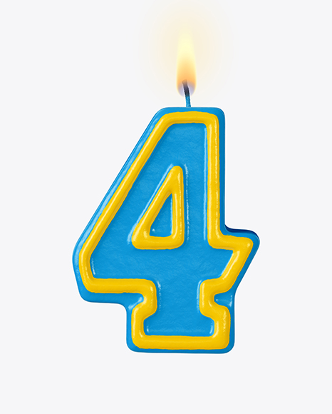 Number 4 Candle Mockup