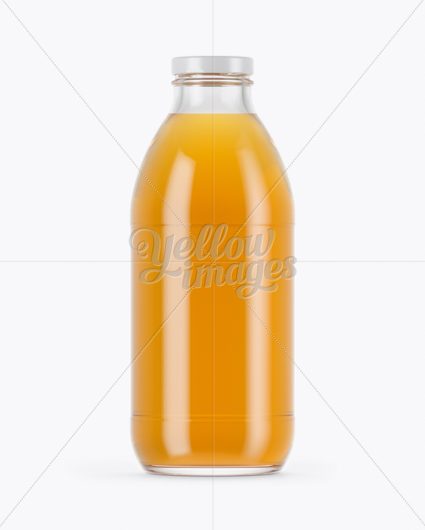 750ml Clear Glass Orange Drink Bottle Mockup