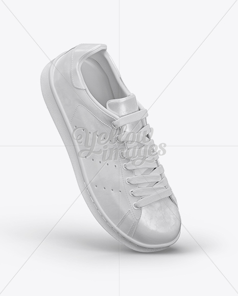 Leather Sneaker Mockup - Right Half Side View