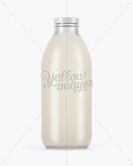 750ml Clear Glass Milk Bottle Mockup
