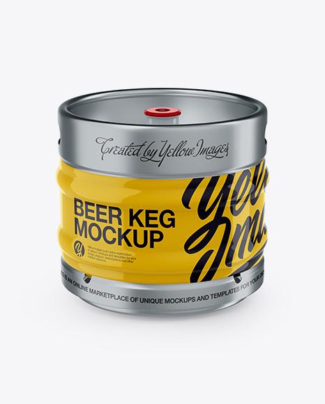 Download 30L Glossy Beer Keg Mockup - Front View (High-Angle Shot) Object Mockups