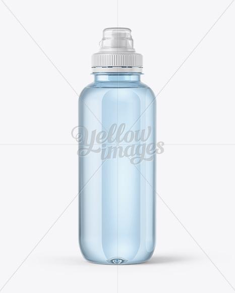 Blue Water Bottle with Sport Cap Mockup
