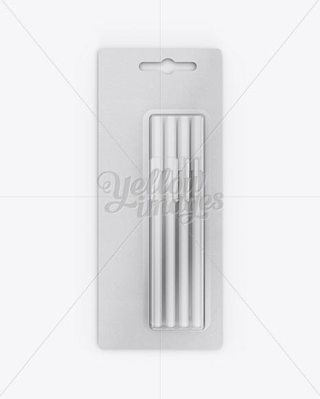Blister Pack of 4 Pens Mockup