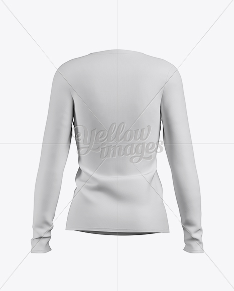 Women's Baseball T-shirt with Long Sleeves Mockup - Back View