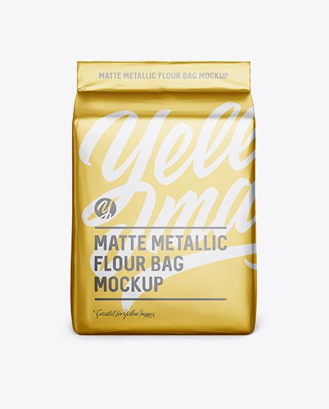 Download Matte Metallic Flour Bag Mockup - Front View (Eye-Level Shot) Object Mockups