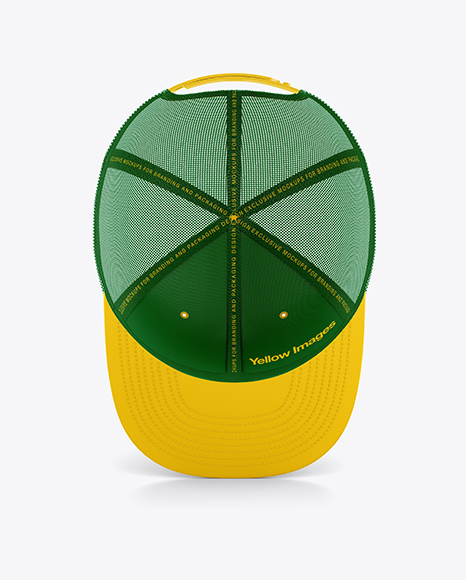 Trucker Cap with Flat Visor Mockup - Inside View