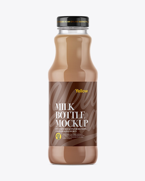 Download Clear Glass Bottle With Chocolate Milk Mockup Object Mockups