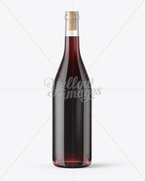 Clear Glass Red Wine Bottle With Cork Mockup