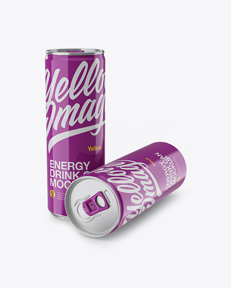 Download Two 250ml Aluminium Cans W/ Glossy Finish Mockup Object Mockups