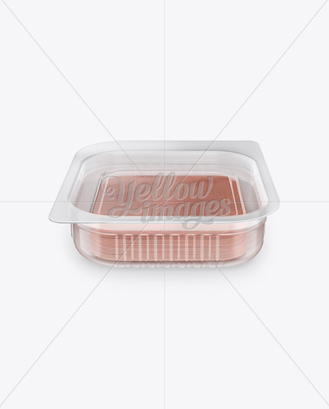 Plastic Tray with Sliced Ham Mockup - Front View (High Angle Shot)