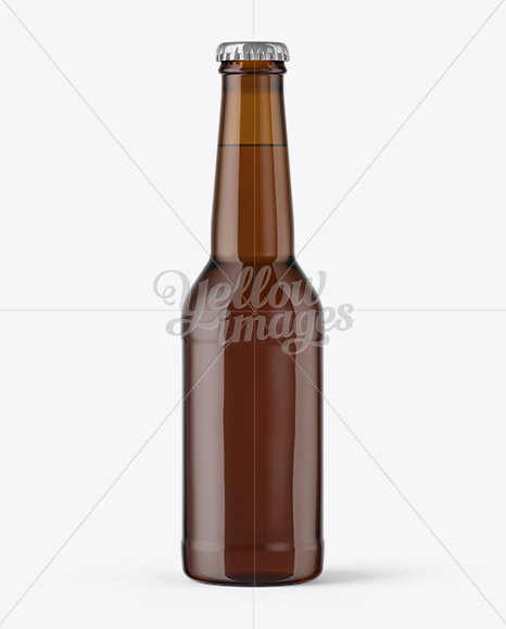275ml Amber Glass Bottle with Lager Beer Mockup
