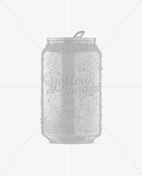330ml Glossy Aluminium Can W/ Condensation Mockup - Front View