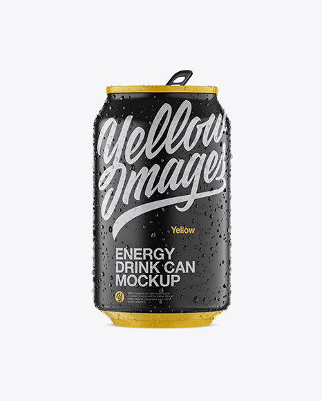 330ml Matte Aluminium Can W/ Condensation Mockup - Front View