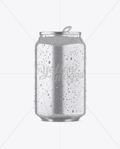 330ml Metallic Aluminium Can W/ Condensation Mockup - Front View