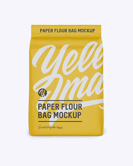 Paper Flour Bag Mockup - Front View (Eye-Level Shot)