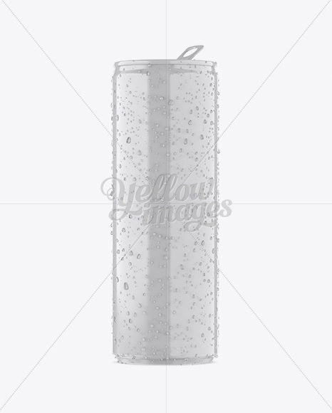 250ml Glossy Aluminium Can W/ Condensation Mockup - Front View
