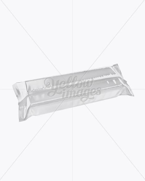 Glossy Snack Bar Mockup - Back Half Side View (High-Angle Shot)