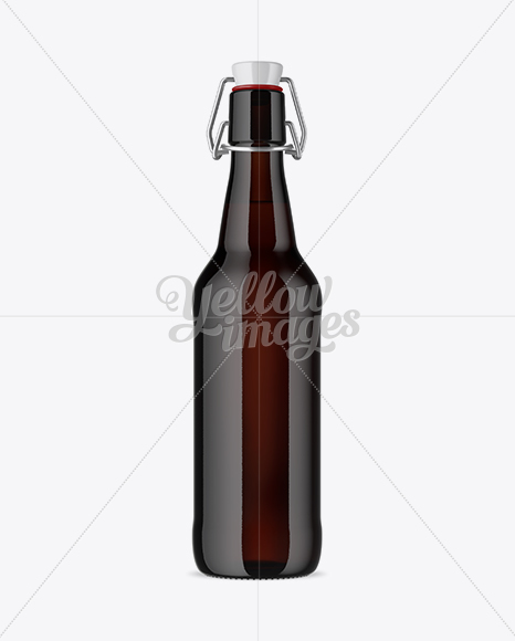 Dark Amber Glass Beugel Bottle Mockup