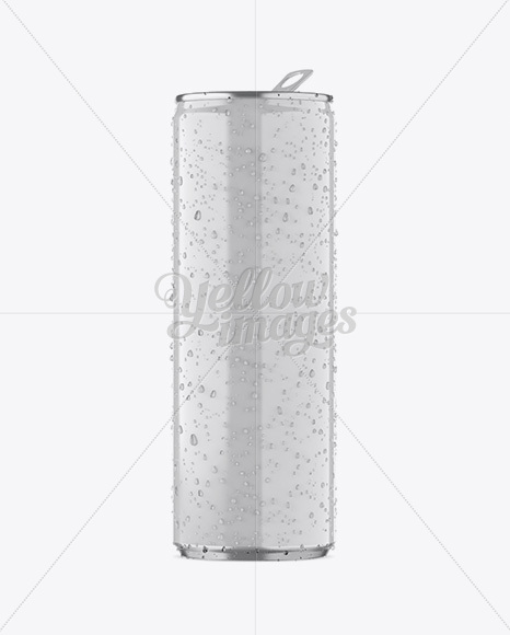 250ml Aluminium Can W/ Condensation & Glossy Finish Mockup