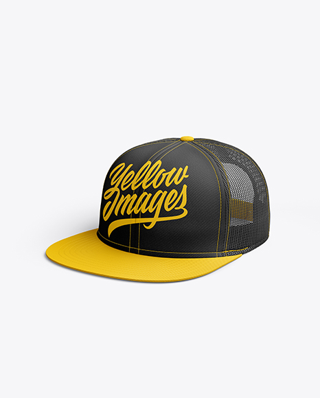 Download Snapback Cap Mockup Right Half Side View Yellow Images