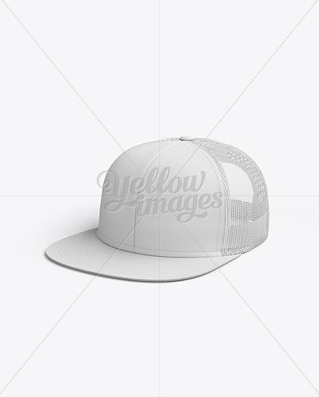 Snapback Trucker Cap mockup (Half Side View)
