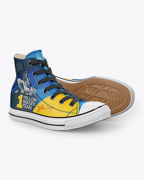 Download 2 High-Top Canvas Sneakers Mockup - Half Side View Object Mockups