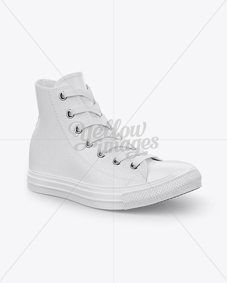 High-Top Canvas Sneaker Mockup - Half Side View