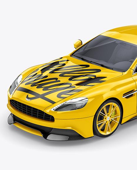 Download Aston Martin Vanquish Mockup - Half side view (High-Angle Shot) Object Mockups