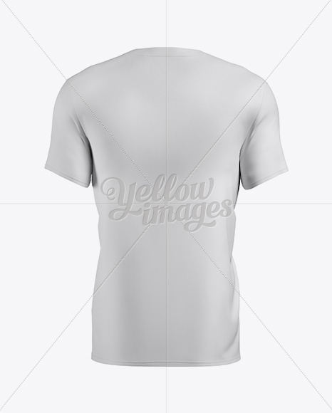 Men's T-Shirt With Buttons Mockup - Back View