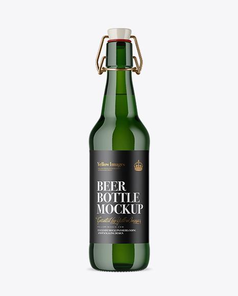 Download Free Green Glass Beugel Bottle Mockup PSD Template
