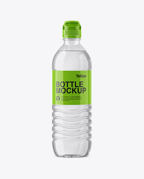 Clear PET Water Bottle W/ Sport Cap Mockup