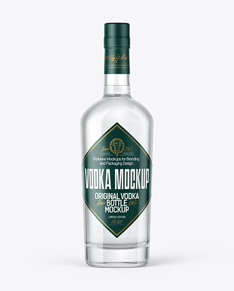 Download Free Clear Glass Vodka Bottle Mockup PSD Template