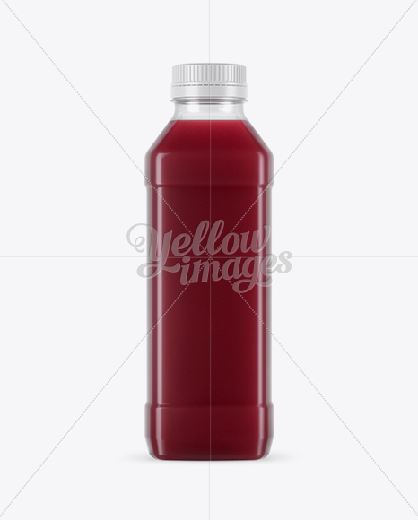 Clear PET Cherry Juice Bottle Mockup