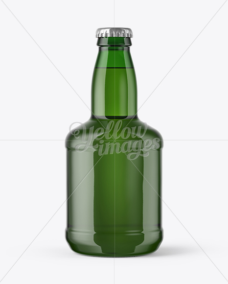 330ml Green Glass Lager Beer Bottle with Foil Mockup