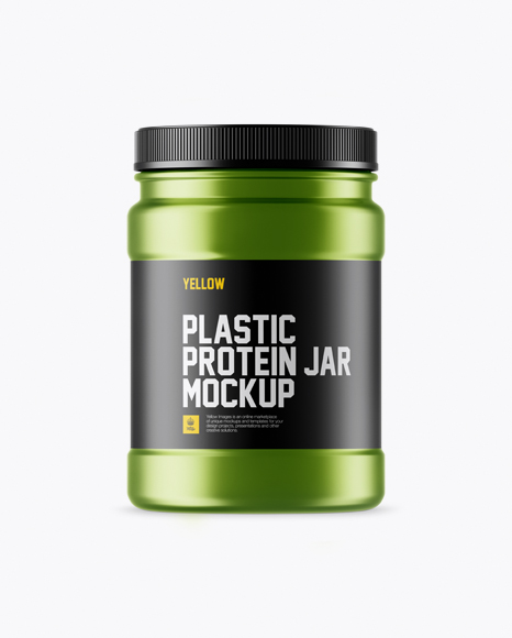 Matte Metallic Protein Jar With Paper Label Mockup