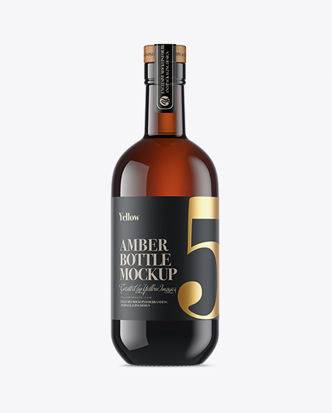 Download Free Amber Glass Bottle Mockup PSD Template