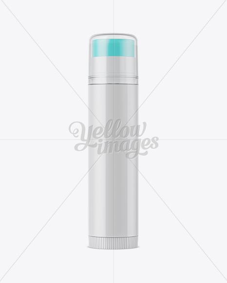 Glossy Lip Balm Tube With Transparent Cap Mockup