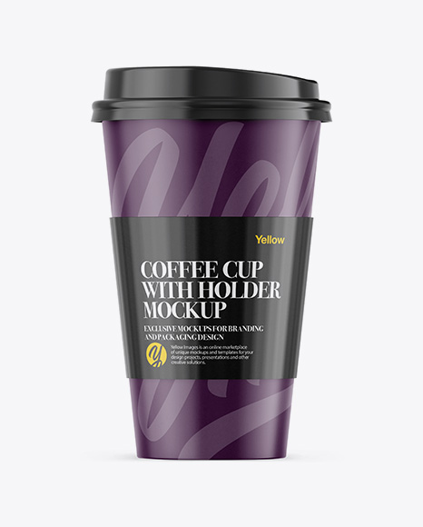 Download Coffee Cup With Sleeve Mockup - Front View Object Mockups